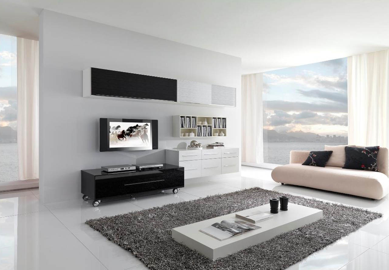 Inspiring Wonderful Black And White Contemporary Living Rooms