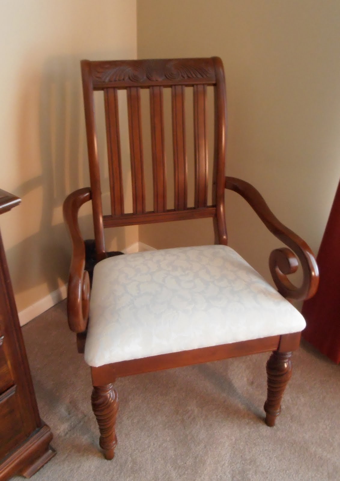 Diy reupholstering my dining room chairs decoration for Dining room chair cushions