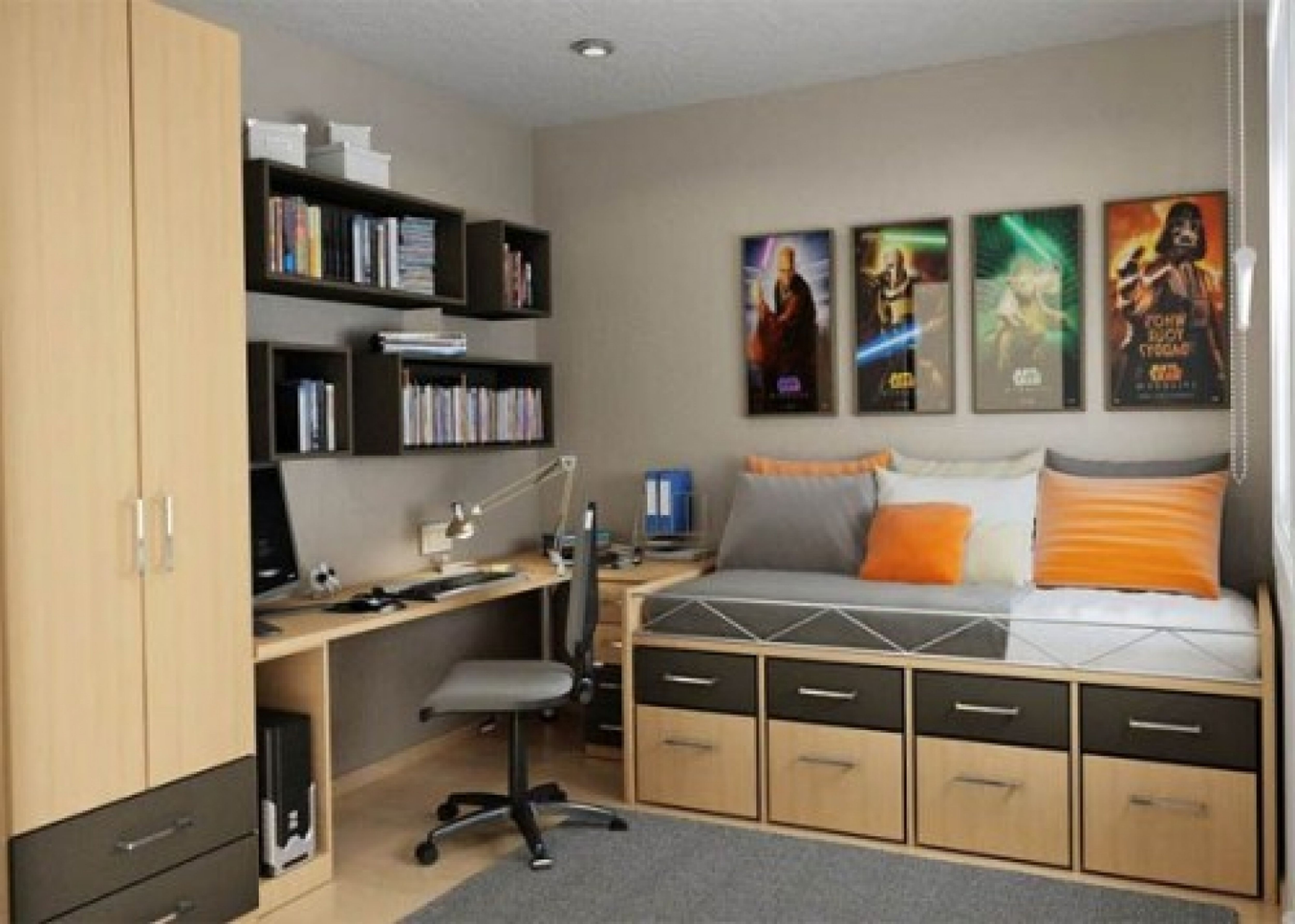 - Small Boys Room Ideas With Storage Under Bed And Study Desk